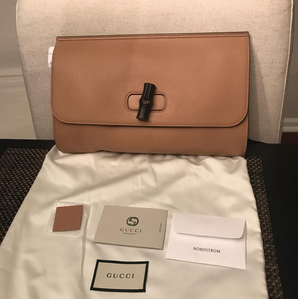 73a45024d6b2 Gucci Bamboo Daily Large Camel Brown Leather Clutch - Tradesy
