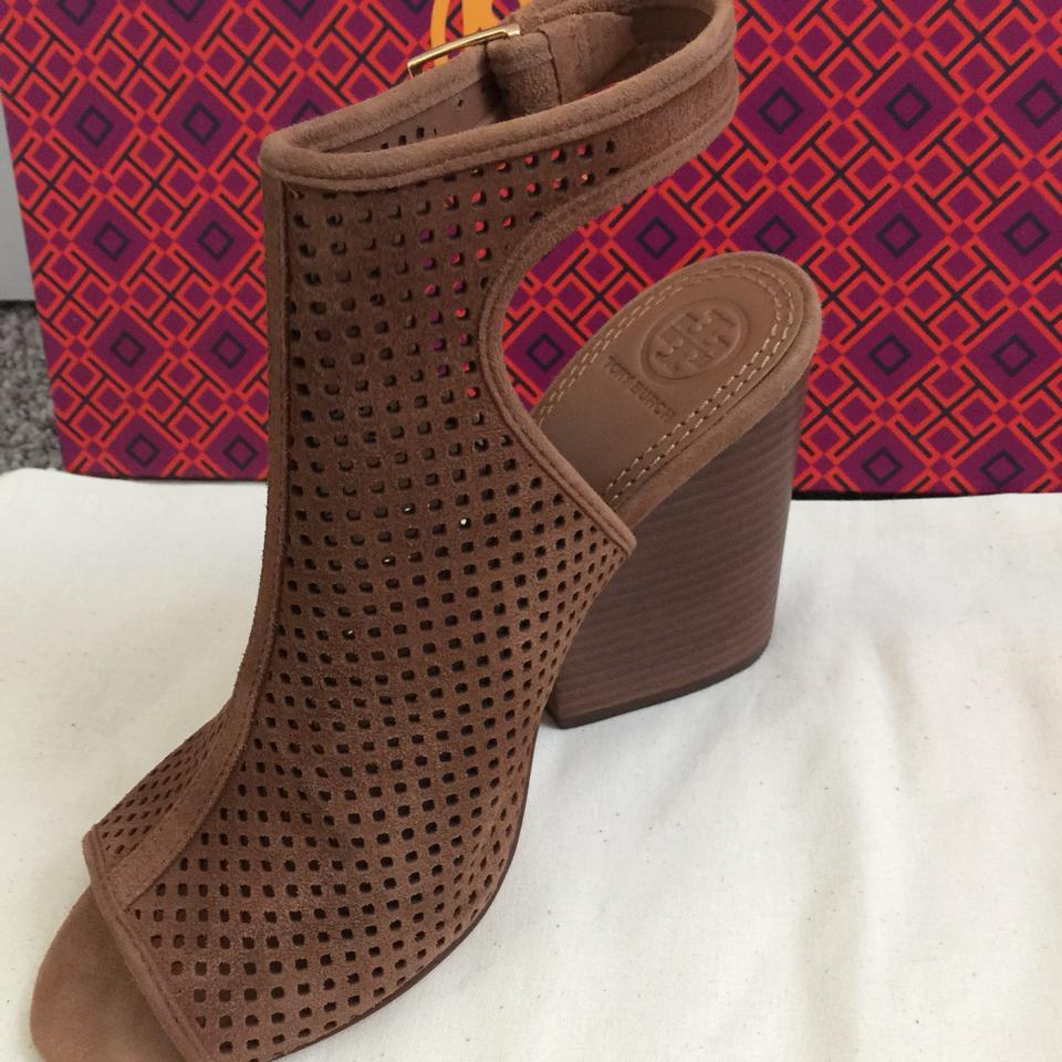 2a2d117af85 Tory Burch Tan Jesse Perforated Leather Open-toe Bootie Sandals Size US 8  Regular (M