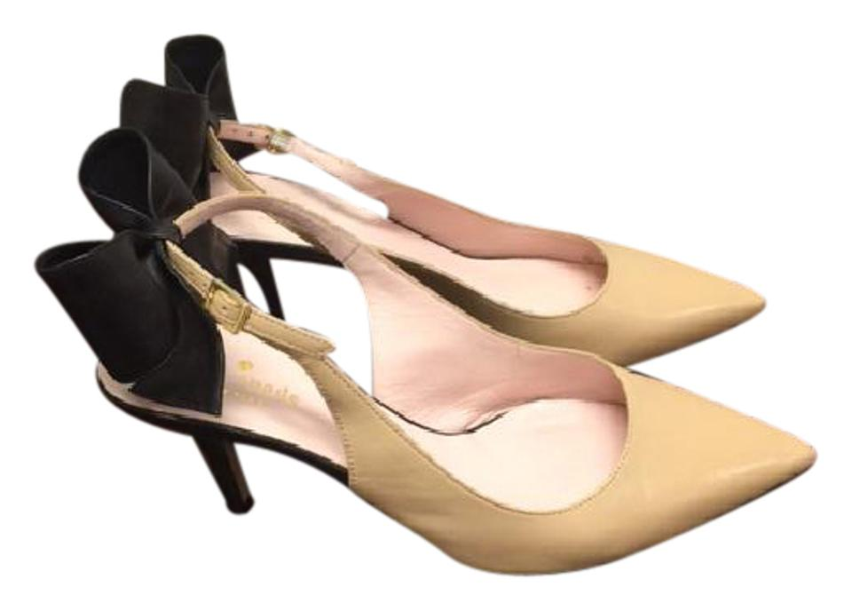 34c535deca8 Kate Spade Tan W Black Bow Jax Heels Pumps Size US 8 Regular (M