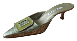 Manolo Blahnik Vintage Crystal Turqoise and metailic silver Mules