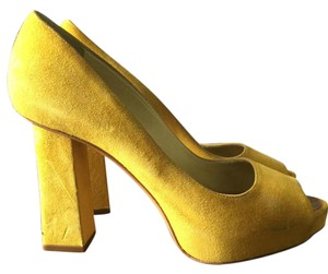 Pollini Suede Open Toe Yellow Pumps