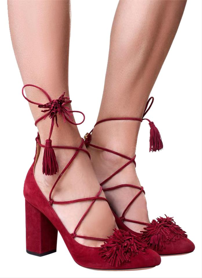 5aaccbe2466d Aquazzura Party Night Out Tassels Fringe Lace Up Red Pomegranate Pumps  Image 0 ...