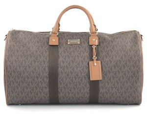 Michael Kors Mk Travel Weekender Duffle Monogram Shoulder Strap Brown Bag