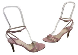 Saks Fifth Avenue Lining Soles Made Italy Pink embossed all leather geometric pattern ankle straps Italian Sandals