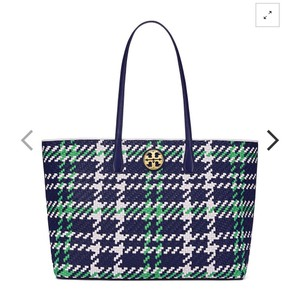 56c6927d6276 Tory Burch Tote in Royal Navy  Court Green  New Ivory