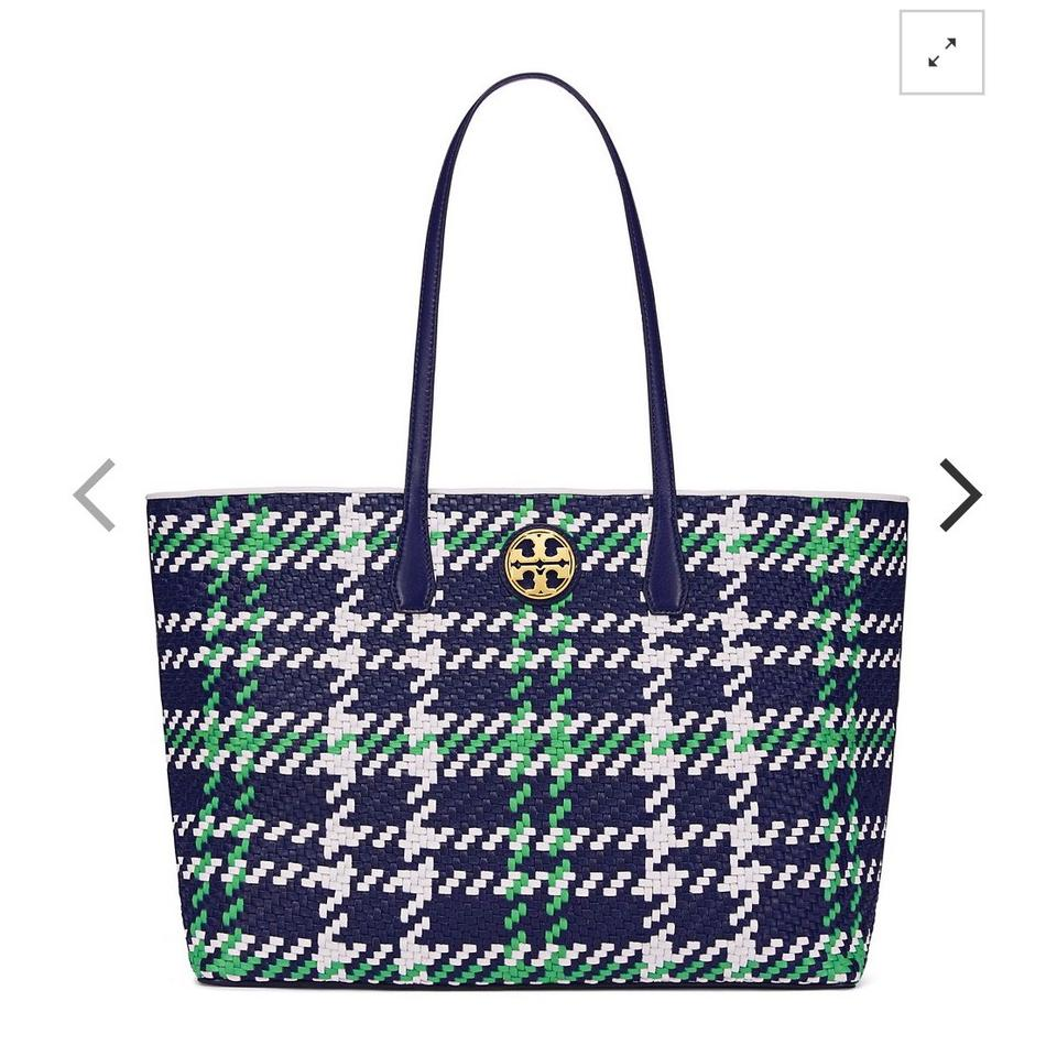 Navy Court Tote Ivory Royal Burch Woven New Tory Duet Green 4IHUW