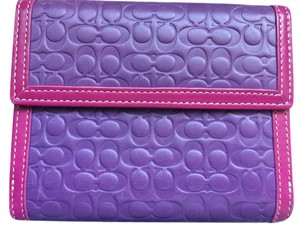 Coach Coach RARE PURPLE FUCHSIA Mini Signature Embossed Leather Bifold Walle