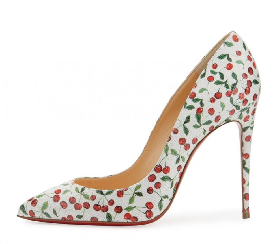 1983042fccf2 Christian Louboutin Latte (White Red Green) Pigalle Follies 100 Cherry  Print Caviar Leather 37.5 Pumps