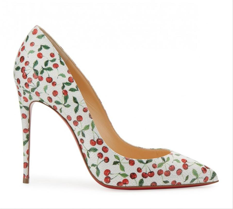 8d55636f4355 Christian Louboutin Latte (White Red Green) Pigalle Follies 100 Cherry Print  Caviar Leather Pumps