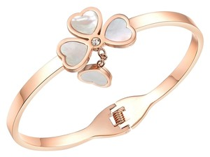 Clover Charm Bangle 18k Rose Gold plated