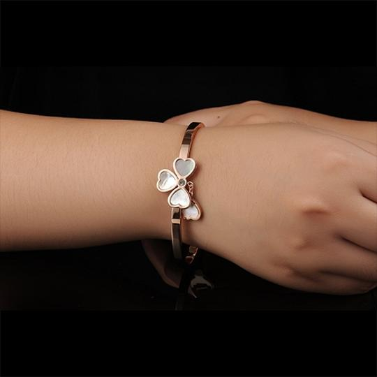 Other Clover Charm Bangle 18k Rose Gold plated