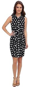 Michael Kors Mk Polka Dot Dots Vintage Wrap Navyblue Blue Blue Dress