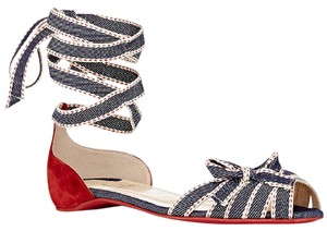 Christian Louboutin Heels Christeriva Ribbon Wrap Around Lace Up Denim Blue, Red, White Sandals