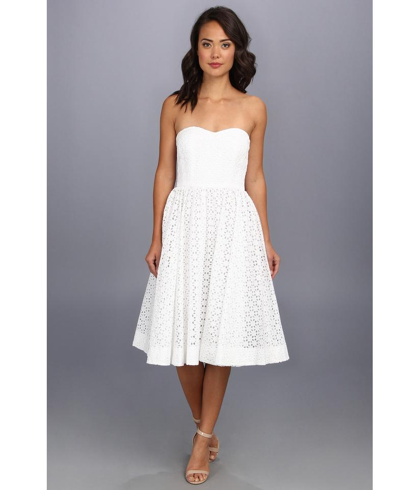 Donna Morgan Ivory White Sweetheart Strapless Eyelet 3 4 Modern Wedding Dress Size 2