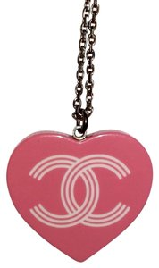 Chanel Pendant Heart CC Logo Resin Silver Classic Pink Green Preppy Stripes