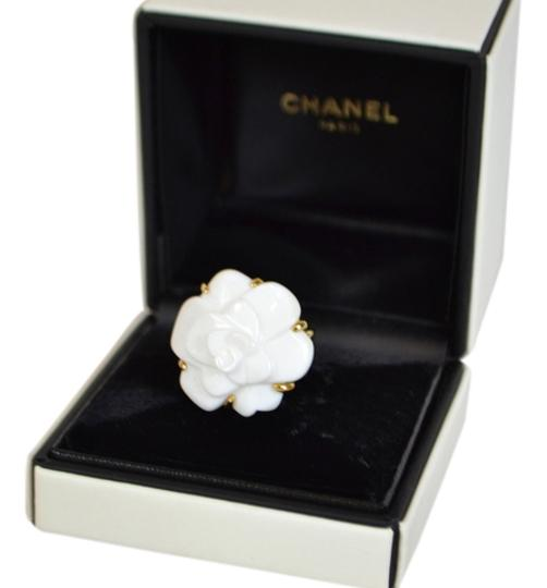 Preload https://item3.tradesy.com/images/chanel-white-camellia-agate-flower-18k-yellow-gold-ring-2161622-0-0.jpg?width=440&height=440