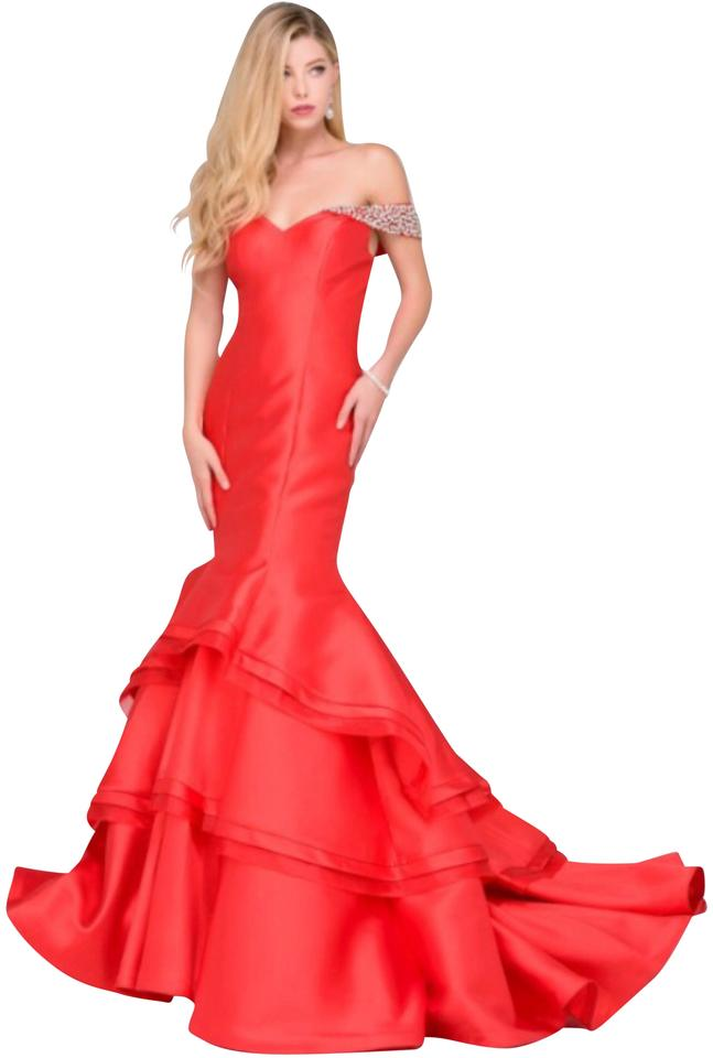 Jovani Red / Silver Off The Shoulder Mermaid Prom 46610 Long Formal ...