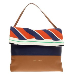 Cline All Soft All Soft Caramel All All Soft Soft Tote in Striped Silk Foulard Navy Camel