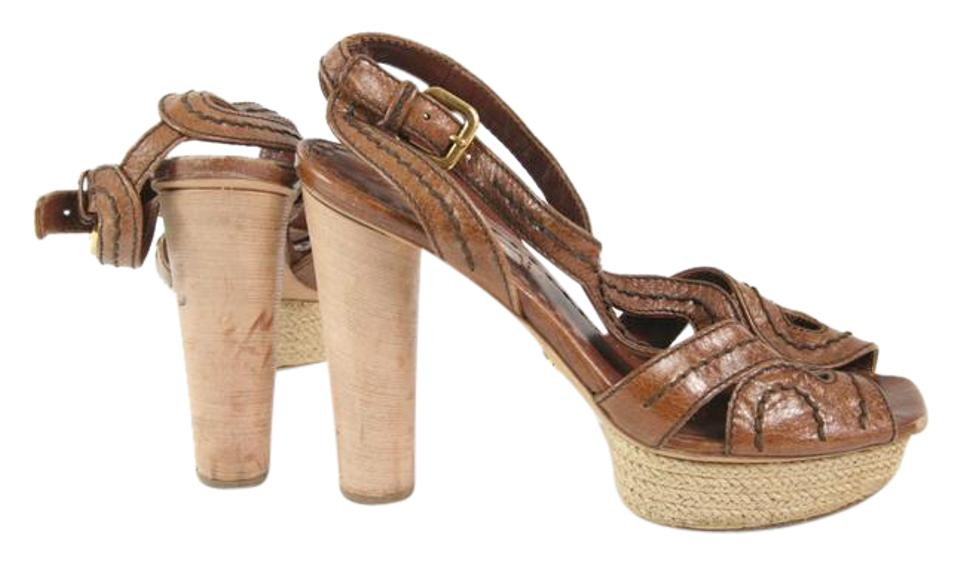 Prada Brown Leather Strappy Exposed Stitch Strappy Leather Heels Platforms 230465