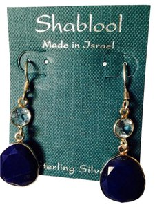 Shablool Silver Jewelry Design Shablool Faceted Lapis & Blue Topaz Dangle Earrings
