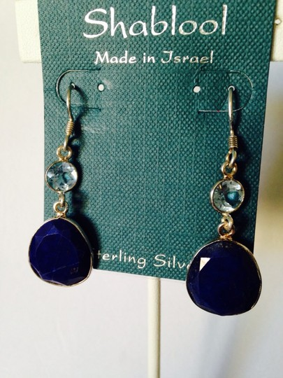 Shablool Silver Jewelry Design Shablool Faceted Lapis & Blue Topaz Dangle Earrings Image 1
