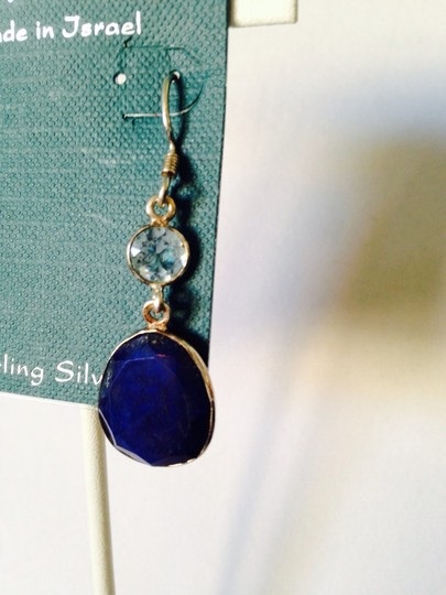 Shablool Silver Jewelry Design Shablool Faceted Lapis & Blue Topaz Dangle Earrings Image 3