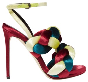 Marco de Vincenzo Burgundy Teal and Lime Green Pumps