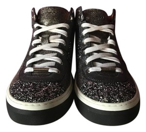 Jimmy Choo Leather Platinum Trainers Black and Silver Sparkles Athletic