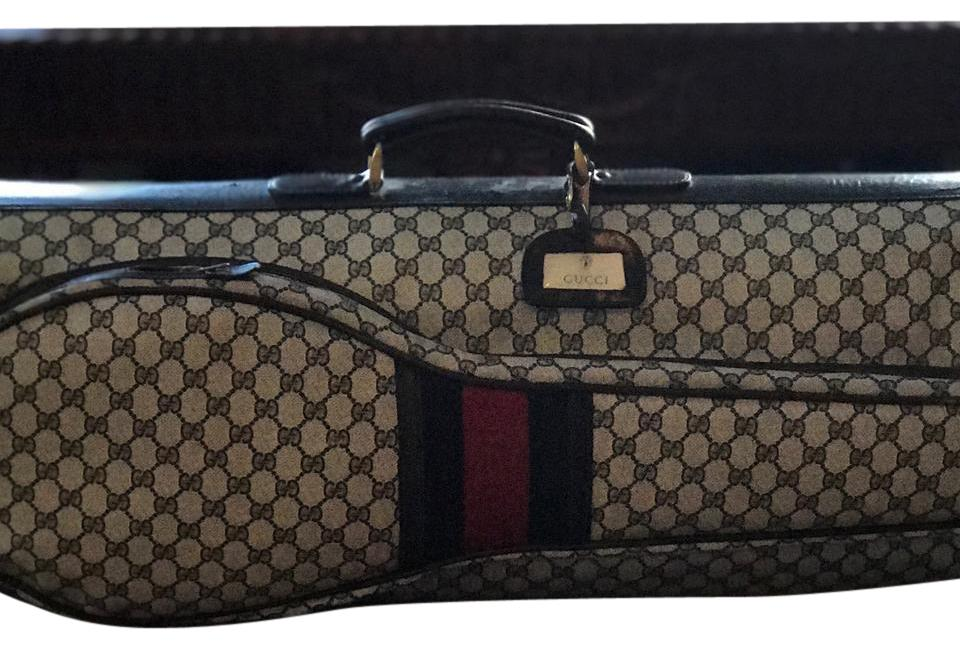 f0f66a8a9f38 Gucci Classic GG Navy Logo Print ; Navy/Red/Navy Gucci stripes on exterior  ...