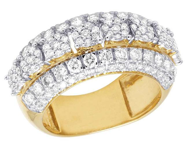 Item - 10k Yellow Gold Real Diamond Cluster Band 3 3/4 Ct 11mm Engagement Ring