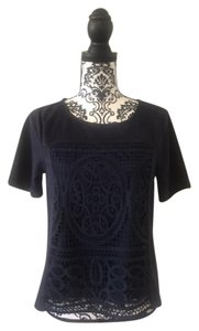 Skies Are Blue Embroidered Faux Suede Short Sleeve Top Navy