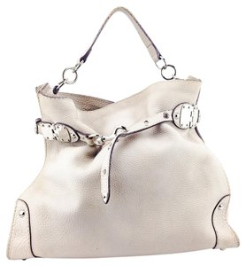 La Bottega Pebbled Leather Satchel Silver Hardware Carryall Tote in Taupe