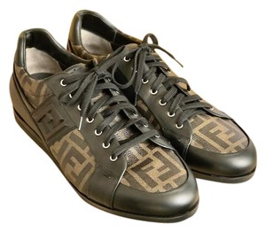 Fendi Zucca Tobacco Leather Sneakers Brown Athletic
