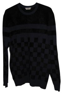 Edun Velour Black Blue Checkerboard Sweater