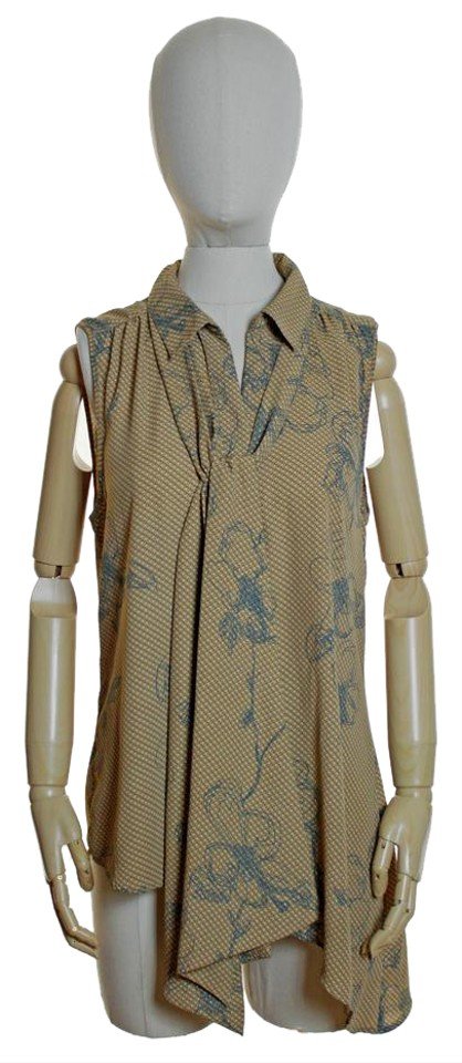 18bf38924972 Daniel Rainn Beige Tie Neck Asymmetrical Button Front Blouse Tunic ...