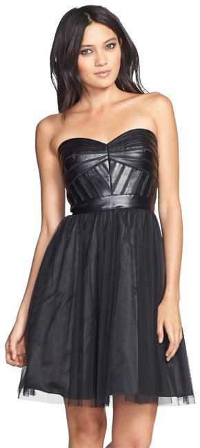 Item - Black Faux Leather Trim Fit & Flare Strapless Short Night Out Dress Size 2 (XS)