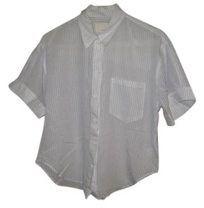 Boy. by Band of Outsiders Stripes Short-sleeved Lightweight Baggy Button Down Shirt