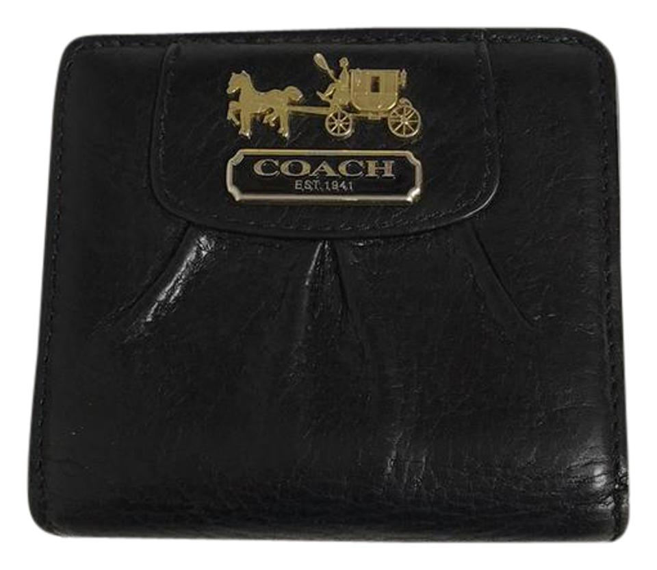547a8bc89f9 Coach Black Lavender   Gold Compact Tumbled Leather Bifold Wallet ...