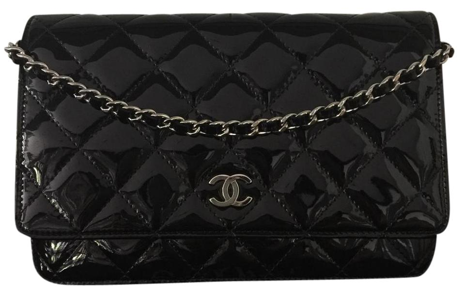 615d299122b5 Chanel Wallet on Chain Quilted Cc Woc Silver Hardware Shw Black Patent  Leather Cross Body Bag