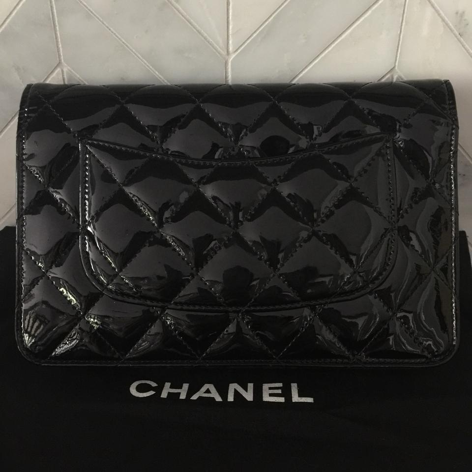Chanel Wallet on Chain Woc Silver Hardware Shw ((14 Series )) Black Patent  Leather Cross Body Bag - Tradesy a2cb0588e8bd0