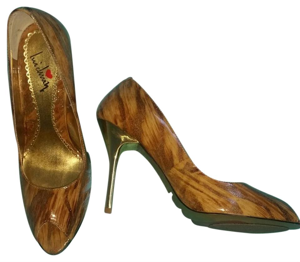 Luichiny Golden Brown Metallic Leather Pumps - 7.5b Pumps Leather c309f4