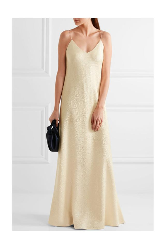The Row Cream Vera Silk Cloque Gown Long Formal Dress Size 4 S