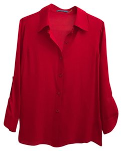Alice + Olivia Button Down Shirt Red