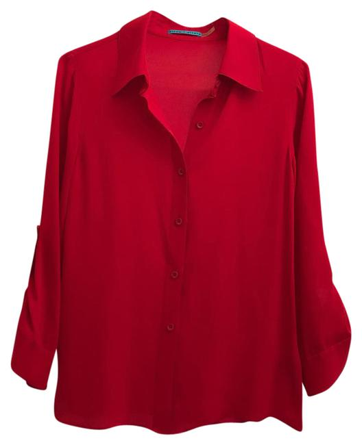 Item - Red Chiffon Button-down Top Size 6 (S)