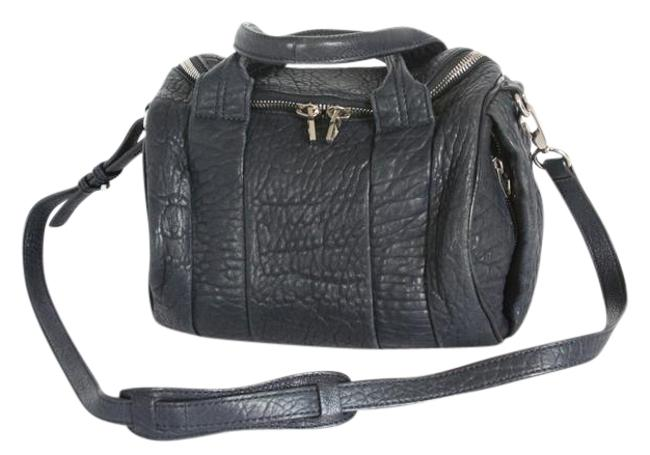 Item - Rockie Pebble with Rhodium Hardware Charcoal Gray Lambskin Leather Cross Body Bag