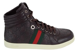 Gucci Gucci 221825 Men's Red Green Web Gg Guccissima High Top Sneakers