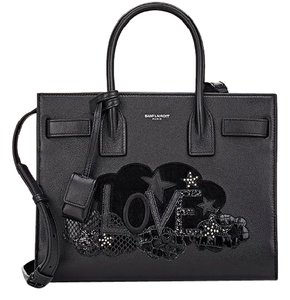 Saint Laurent Ysl Sac De Jour Baby Appliqued Satchel in black
