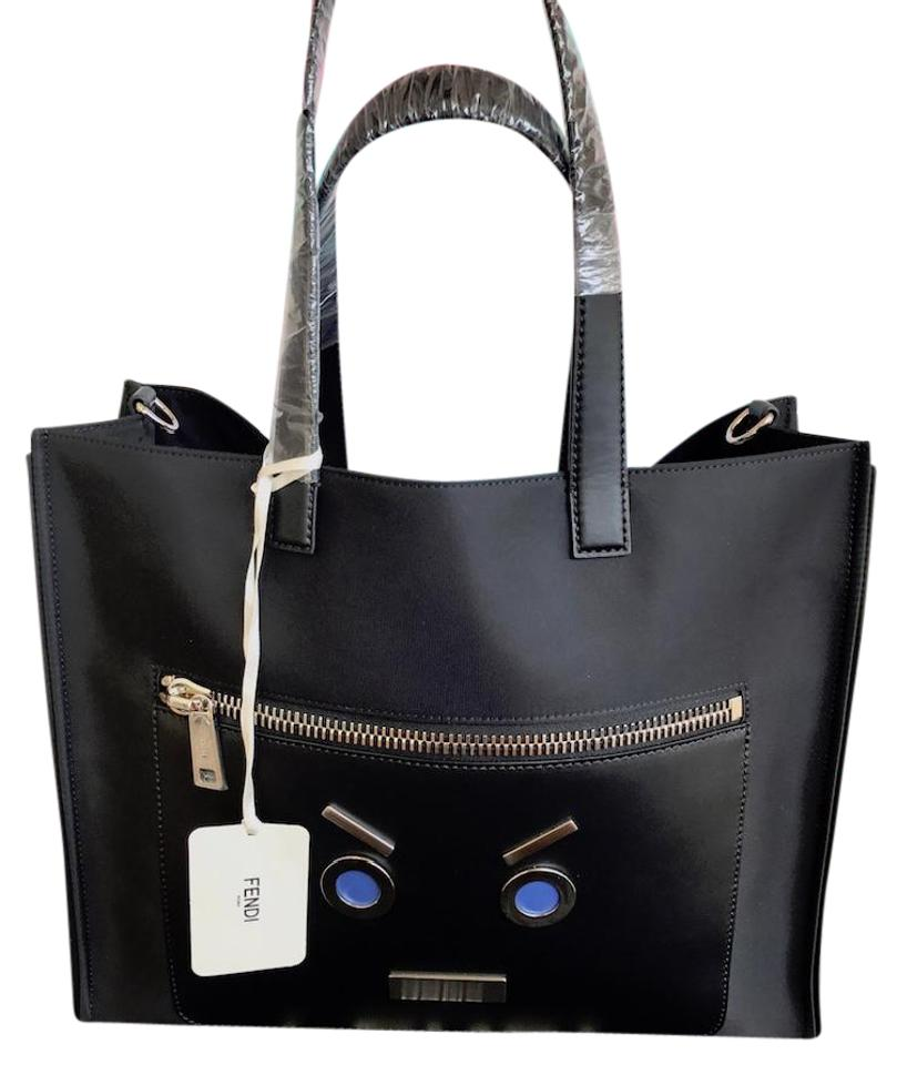 d39b7c4ed71 Fendi No Words Face Motif Shopper Black Nylon Tote - Tradesy