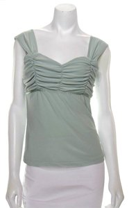Tailor B. Moss Ruched Gathered Sweetheart Bust Feminine Stretch Top Green