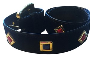 Escada Escada black suede belt with enamel & gold toned accents 32 & 1/2